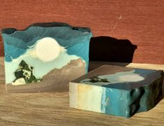 Oh, how I love the #art of #soapmaking! 2nd attempt at #landscape #soap with embedded layers. Took 4 separate days!  Scented with cardamom and cedarwood. By #ZarahBody. #soapshare #scenery #mountains #moon #sky #pine #handmade #handcrafted #handmade #artisan #crafts #etsy