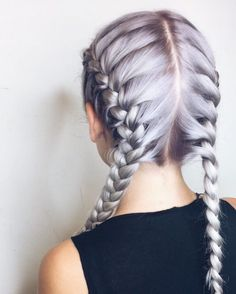 Metallic lavender hair color with precise French braids by Aveda Artist and Educator Stefanie Gottschalk.