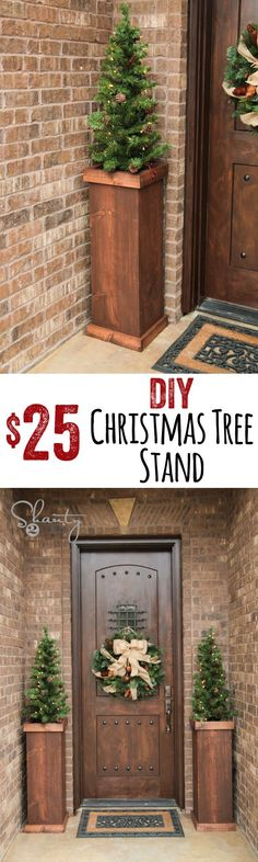 DIY Christmas Tree Stands from wood! These are so easy and SO CUTE!! - decorating-by-day