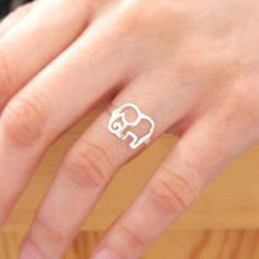 925 Sterling Silver Elephant Ring Bz6yjL2W0m