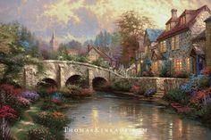 """Collector Fact - Thomas Kinkade's """"Cobblestone Brooke"""" was inspired by Castle Combe, in England's Wiltshire District. This beautiful home was featured in the 1932 movie, """"Dr. Doolittle""""."""