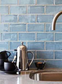 "beautiful blue handmade tile backsplash cafe collection 3""x6"
