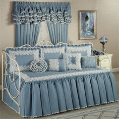 The four-piece Devotion Daybed Bedding Set includes a daybed cover and three standard shams. The cotton daybed cover is steel blue with a vermicelli-quilted center and hand-crocheted, ivory trim. The gathered drop is edged in mini-crochet trim. Ikea Daybed, Daybed Sets, Daybed Bedding, Daybed Covers, Bedding Master Bedroom, White Duvet Covers, Bedroom Decor, Matching Bedding And Curtains, Bed Curtains