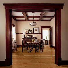 I love this contrast.  We have the walnut trim already. We are replacing the carpet with red oak floors.