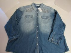 b070e73e18f6b CJ Banks Womens 24 26 3X Denim Shirt Jean Embellished LS Long Sleeve
