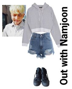 """""""Out with BTS Pt.4: Namjoon"""" by fangirlkaly8102 ❤ liked on Polyvore featuring Converse, kpop, bts, bangtan, rapmonster and Namjoon"""