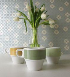 Three Vintage Cups made by Mosa Maastricht Holland in Pastel Green, Dark Green and Yellow 70s  17058 door Vantoen op Etsy