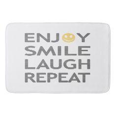 Enjoy smile laugh repeat - black and orange. bathroom mat - typography gifts unique custom diy