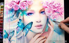 Фото Портрет голубоглазой девушки с бабочками и розами, by Laovaan by Laovaan on DeviantArt