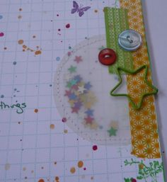 Spend Less, Craft More: Use old supplies? You must have read my mind! (Or my blog) - circles of vellum sewed to the page to create confetti pockets by Julie H