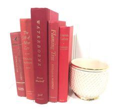 Red Decorative Book Set by ElementsByAmber on Etsy Shelf Decor, Shelf Decorating, Mantel Decor, Mantel Decorating