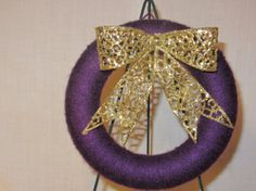 8 inch Purple Yarn Wreath with Gold Glitter Bow by MomsDownTime, $15.00