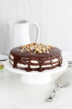 Chocolate layer cake with peanut butter cream