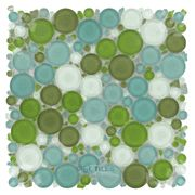 Shower floor mosaic. Optimal Tile - Glossy Circles Glass Mosaic in Key West - ( OTT-83442 )