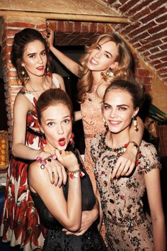 Dinner with Dolce & Gabbana \ Photographer: Terry Richardson Jade Williams, Mary Charteris, Cara Delevingne, and Florrie Arnold