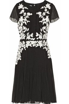 Oscar de la Renta Floral-appliquéd silk-chiffon dress | NET-A-PORTER