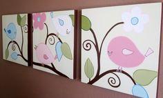 "Nursery Wall Art - Happy Birds, Set of 3 Paintings, each 20x20"", hand painted acrylic on canvas. $249.00, via Etsy."