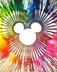 Mickey Mouse melted crayon art!