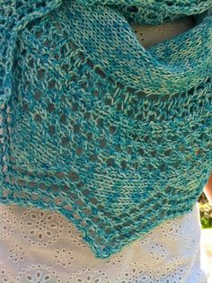 Knitting Cottage: A Turquoise Scarf for the Summer Free Pattern