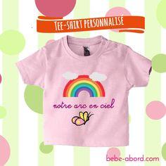 Exemple de personnalisation : #teeshirt #bebe #texte , arc en ciel , collection motifs + couleurs au choix www.bebe-abord.com