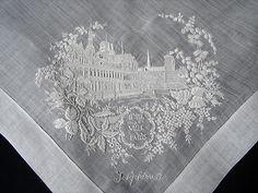 """Maria Niforos - Fine Antique Lace, Linens & Textiles : Antique Lace # LA-206 Fine """"Hotel De Ville"""" Appenzel Hankerchief"""