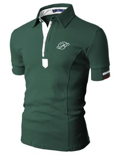 Amazon.com: Doublju Mens Polo T-shirts with Short Sleeve GREEN (US-XXL): Clothing