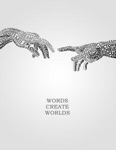 Words Create World Ready For Print Typography Poster The Words, Art Mots, Poema Visual, Deaf Art, Deaf Culture, Art Graphique, Lettering, Typography Poster, Writing Inspiration