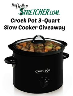 Enter to win a crock pot slow cooker from The Dollar Stretcher. Ends 10/4 This is the perfect giveaway for all the fall recipes!