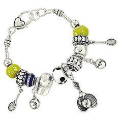 *Metallic Tennis Charm Bracelet- 2 Options