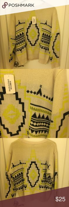 Forever 21 Sweater NWT Size Large. Cream with gray and neon yellow pattern Forever 21 Tops Blouses