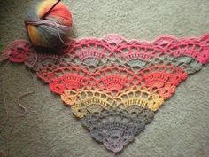 Free crochet shawl pattern on Ravelry. (I don't crochet, but look at that yarn! Poncho Crochet, Crochet Shawls And Wraps, Knit Or Crochet, Crochet Scarves, Crochet Crafts, Crochet Clothes, Crochet Stitches, Crochet Projects, Crochet Triangle Scarf
