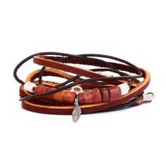Unisex Brown Multi Wrap Leather Bracelet with Beads and Feather Charm Boho Leather and cord bracelet by WrapItSnapIt