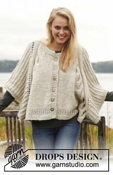 """Knitted DROPS poncho with cables and textured pattern in """"Nepal"""" and """"Kid-Silk"""". ~ DROPS Design gestrickte Schals Dove / DROPS - Free knitting patterns by DROPS Design gestrickter Schal Knitting Patterns Uk, Loom Knitting, Knitting Stitches, Knitting Designs, Free Knitting, Crochet Patterns, Drops Design, Gilet Crochet, Knit Crochet"""