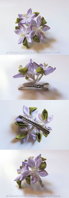 Bell flower kanzashi clip for short hair by WhimsicalArtisan on deviantART