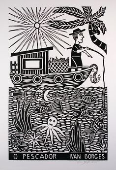 O Pescador. J Borges. Cordel - Typical northeastern Brazilian Art - Xilogravura