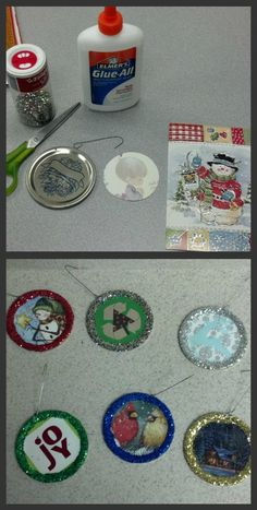 Making Christmas Ornaments! fun fun!! :) all you need is a mason jar lid (with a small hole drilled in the top), a hook, glue, a recycled Christmas card, and GLITTER! :D