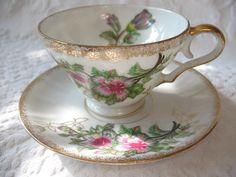 Vintage Tea Cup & Saucer Pink Grey Floral   by WhenRosesBloomShop, $16.00