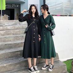 Women V Neck Long Sleeve Midi Dress Casual Solid High Waist A-Line Work Dress Office Lady Plus Size Dresses Black Dress Outfits, Casual Dresses, Dresses Dresses, Stylish Dresses, Ladies Plus Size Dresses, Dresses For Work, Korea Dress, Korean Fashion Dress, Long Sleeve Midi Dress