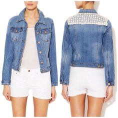Romeo & Juliet Couture Lace Back Denim Jacket So chic and absolutely perfect for spring + summer! Looks amazing over a lightweight dress. Very excellent pre worn condition. No trades!! 0471650gwpg Romeo & Juliet Couture Jackets & Coats Jean Jackets