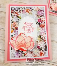Flower card ideas featuring Stampin' UP! Petal Promenade designer paper and Delightfully Detailed Laser-cut specialty paper, by Patty Bennett www.PattyStamps.com