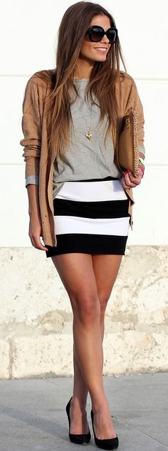 Stripes + neutral top+ neutral cardigan + accessories= fresh
