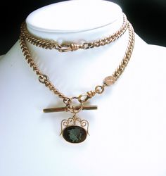 French Fob Slide Necklace Antique Rose gold watch chain with