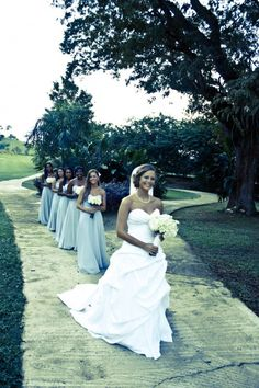 real wedding in Jamaica - love the long bridesmaids dresses!