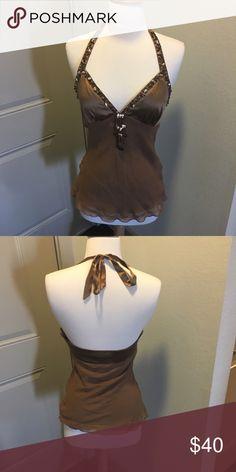 Bebe Top 100% silk. Beautiful detailing. Halter top. Excellent condition. bebe Tops