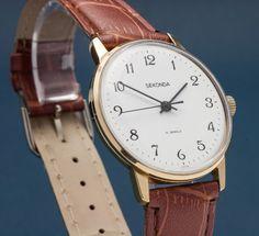 SECONDA 19J Russian USSR Mechanical Hand Winding Wrist Watch Gold Plated N.O.S. #PoljotSeconda #Dress