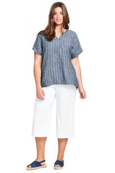 6fb10e4ab10 Women s Plus Size Pull On Linen Crop Pants from Lands  End