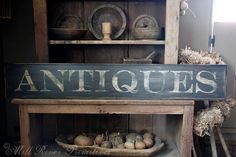 Early looking Antique Primitive ANTIQUES Wooden Sign