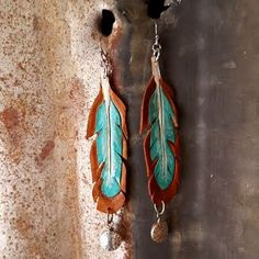 Leather Earrings, Leather Feather Earrings, Turquoise Earrings, Hand Tooled Leather Feather Earrings with Silver Beads