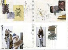Fashion Sketchbook - fashion design process with visual research; sketches, fabric sampling & development; fashion portfolio