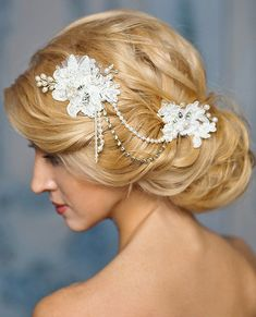 White bridal beaded lace pearl headpiece by FancyBOWtiqueBridal, £100.00